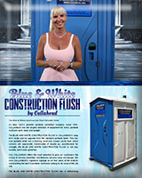THE BLUE AND WHITE CONSTRUCTION FLUSH PORTABLE TOILET