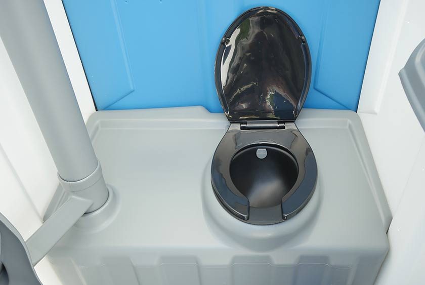 The Blue Amp White Construction Flush Portable Toilet By