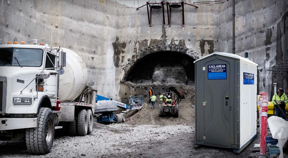 Job Site Portable Toilets : The construction wash and flush portable toilet by