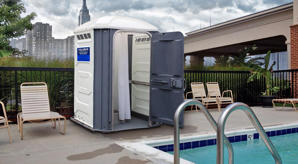 Portable Shower at a New York Pool