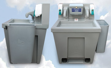 Water Basin Portable Sink, Side and Front Views