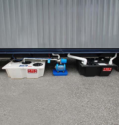 Porcelain Toilet System Under Trailer