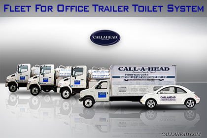 Fleet of Trucks and Volkswagen for Office Trailer Toilet System
