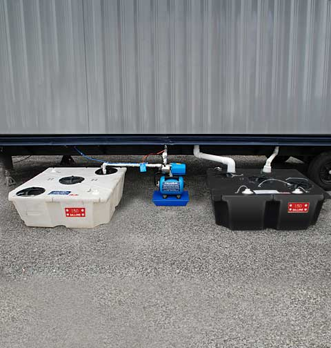 Porcelain Toilet System Outside Trailer