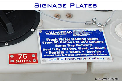 Signage Plates for Holding Water Tanks