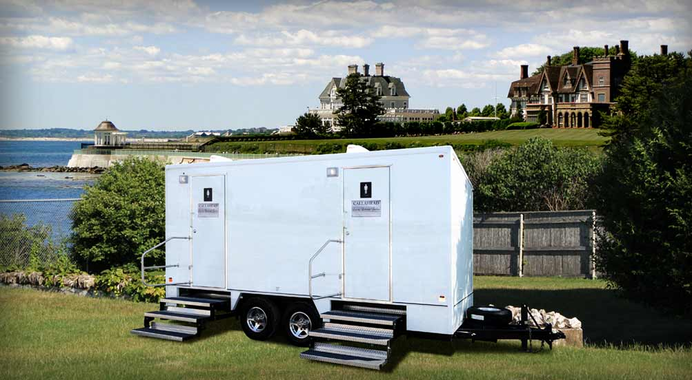 The Castle Hill Luxury Restroom Trailer for Weddings