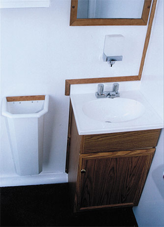Mobilet Trailer - Inside View of Sink and Mirror