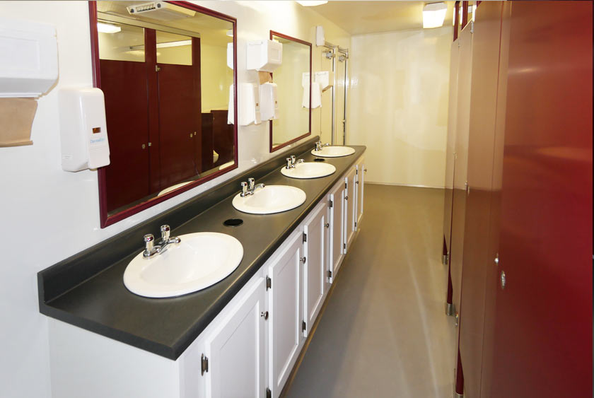 LARGE MIRRORS OVER EXTENDED VANITY AREA. Restroom Trailer   The Contractor s Trailer  Restroom Trailer by