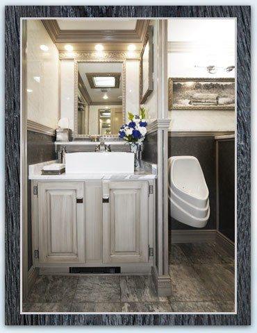 The Driftwood Restroom Trailer Sinks and Mirror