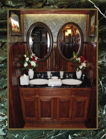 The Equestrian Restroom Trailer Sinks and Mirror