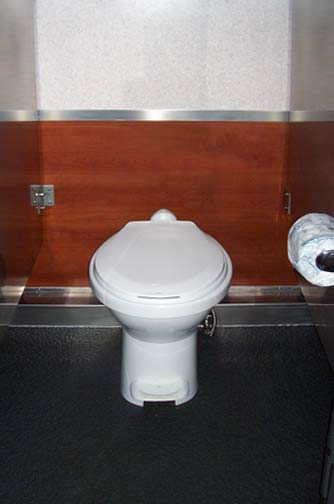 The Newport 1600 Restroom Trailer - Flushing Toilet in Stall