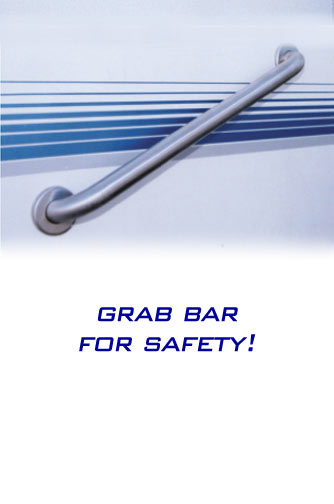 The Restroom Station Bathroom Trailer - Grab bar for safety