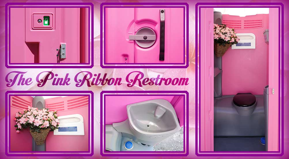 The Pink Ribbon Fluorescent Pink Portable Restroom